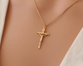 Collier pendentif Sainte Croix Jésus Christ / cadeaux bijoux religieux  catholique / ex voto / crucifix