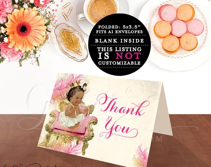 """Thank you cards baby shower, princess african american baby girl, thank you note template, birthday thank {MED/BRUNETTE} 5x3.5"""" 2 Per/Sheet"""