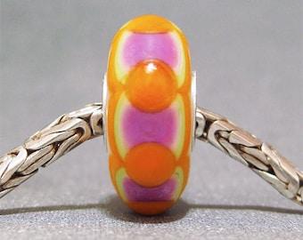 Handmade Lampwork Glass European Charm Bead Dot Bead SRA Handmade OOAK Sweetart