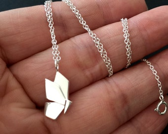 Origami Butterfly Necklace in Sterling Silver, Origami Necklace, silver origami butterfly necklace, simple Minimal Necklace