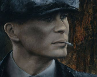 "ORIGINAL Tommy Shelby portrait, 11x14"" oil on panel, Cillian Murphy in Peaky Blinders"