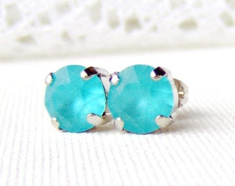 Aqua blue matte rhinestone stud earrings / 8mm / March / frosted / Mothers day / beach wedding / girlfriend gift / Swarovski / gift for her