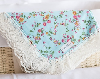 Heritage Blanket - blue floral. Baby girl swaddle wrap or blanket. Perfect for pram cover, play mat or nursery decor