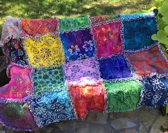Hawaiian batik rag quilt kit, Hawaiian rag quilt kit, DIY rag quilt, easy rag quilt kit, beginner quilt kit, easy quilt kit