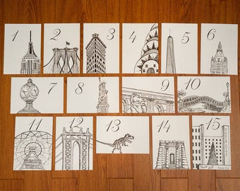NYC Icon Wedding Table Numbers | New York City Wedding Theme | Set of 10, 15, 20, 25, or 30