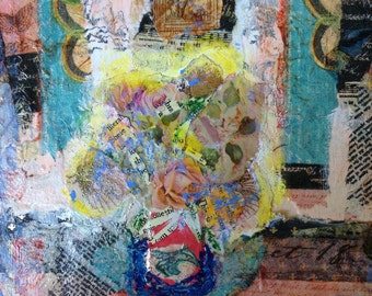 Original Mixed Media Collage Art/Painting - Flowers for Jane - Collage Art