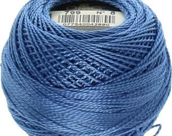 DMC 799 Perle Cotton Thread | Size 8 | Medium Delft Blue