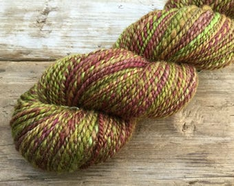 BFL Wool Hand Spun Hand Dyed Yarn: Barberry Bush Chartreuse Grass Mossy Green Rusty Red Amber Cider Inspired by Nature