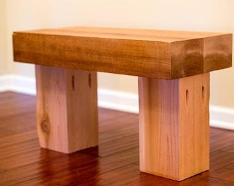 rustic wood bench, rough sawn cedar timbers