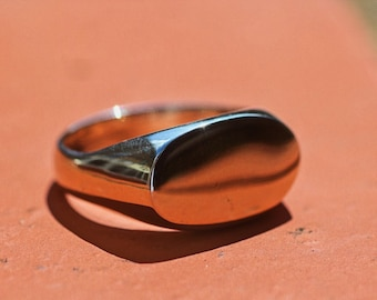 Sterling Silver Signet Ring - Slim Signet Ring - Oval Signet Ring - Everyday Ring - UK Hallmarked