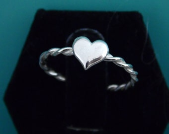 Silver Heart Stacking Ring, Stacking Ring, Silver Ring, Promise Ring