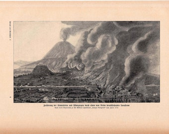 1900 VOLCANO scene original antique lithograph print