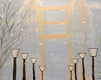 """Snow by the Bridge is a 12"""" x 16"""" wrapped canxas ready to hang done in acrylic waiting just for you."""