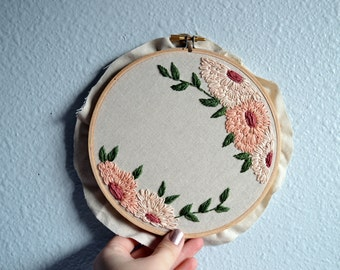 Custom Quote Embroidery Hoop - Personalized Quote, Modern Florals, Handstitched Needlepoint, Floral Art, Wildflowers