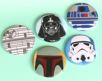 Star Wars button set - pinback button pack - Star Wars gift buttons - R2D2 - Boba Fett - Star Wars present Darth Vader -  Button Pack