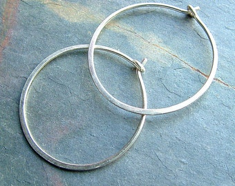 Hammered Silver Hoop Earrings Simple Sterling Silver Medium Hoops, eco friendly minimalist jewelry gift for her, womens gift, womanmade