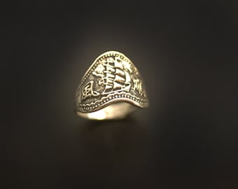 """Pirate Ship Sea Galleon """"Smooth Sailing"""" ring in Sterling Silver"""