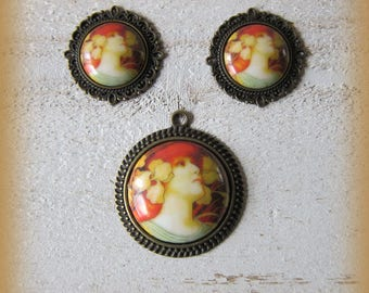 3 Porcelain cabochons sold WITHOUT SETTING CABOCHON