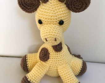 Amigurumi Giraffe/Crochet Giraffe/Amigurumi Toddler Toy/Stuffed Giraffe/Giraffe Plush/Yellow Giraffe/Safari Nursery Decor. **Made to Order**
