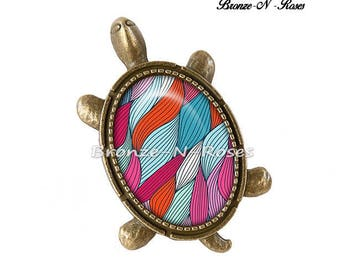 "Ring ""Multicolor shell turtle"" bronze jewelry fantasy glass cabochon"