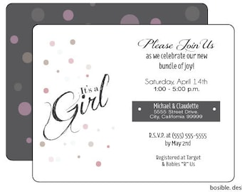 Cute It's A Girl Baby shower Invitation Printable