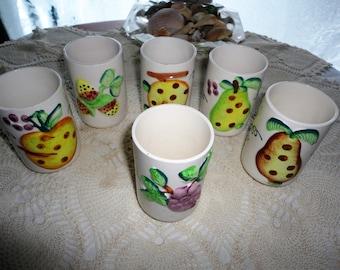 Vintage Raised Fruit Design Porcelain Tumblers Tea Cups Made In Japan