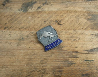 Vintage Molstar 1974 Downhill Ski Racing Competitor Lapel Pin - Made In Canada