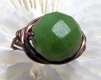 Customize your Wire Wrapped Ring, Faceted Round Jade Statement Ring, Solitaire Ring, Wire Ring. Jewelry,You choose the Metal!