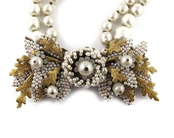 Vintage Signed 'Miriam Haskell necklace c. 1950