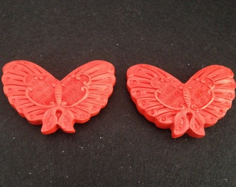 Vintage Fancy Carved Red Cinnabar Butterfly Pendants