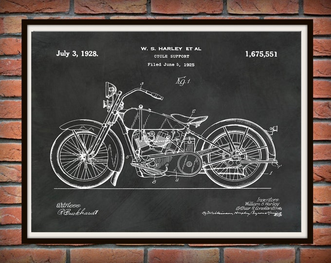 Featured listing image: Patent 1928 Harley Motorcycle - Poster - Wall Art - Drawing Illustration - Harley Davidson - Bike - Motor Bike - Hells Angels