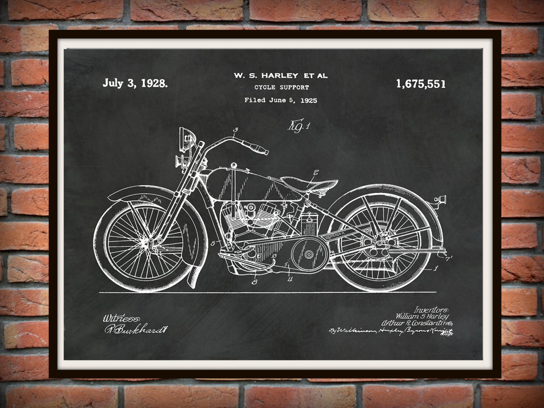 Patent 1928 Harley Motorcycle   Poster   Wall Art   Drawing Illustration   Harley  Davidson   Bike   Motor Bike   Hells Angels