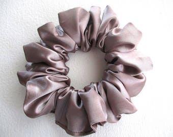 pale brown satin scrunchie for long thin hair, cheerleader accessory for women girl, handmade gift for her, large hair wrap, 80s 90s disco