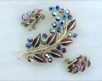 JEWELCRAFT - 1960s Demi-parure - Goldtone Chestnut Brown Enamel & AB Diamanté Leaf Brooch and Matching Clip-on Earrings