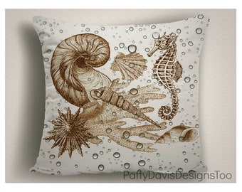 Beach Pillows with Sea Horse and Shells, Cottage Throw Pillows, Beach Decor
