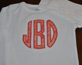 Monogram Applique Circle Onesie