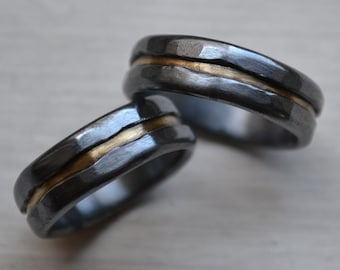 silver and brass wedding band set - artisan designed handmade fine silver and brass wedding bands - rustic wedding bands - his and hers