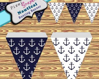 Party Banner Nautical Marine Anchor Printable Banner Bunting Instant Download