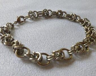 silver bracelet for man in mesh chain