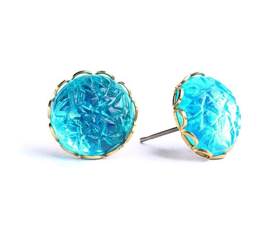 Emerald baroque jewel hypoallergenic surgical steel post earrings READY to ship (451)