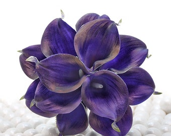 Royal Purple Wedding Bouquet - One Dozen Real Touch Artificial Calla Lilies - Select Ribbon and Pin Colors