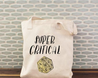 Gamer Tote Bag, Super Critical Tote, D20 Dice Bag, Gamer Tote, DM Gift, D&D Tote, Dungeons and Dragons, Pathfinder, Canvas Tote