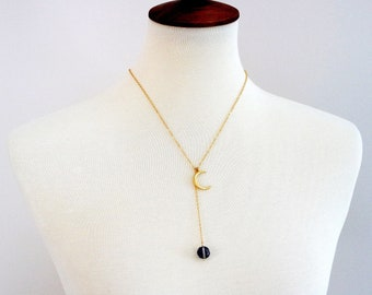 14k Gold Crescent Moon Lariat