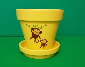 Decorative Mother's Day pot, Terracotta Planter, Mom and Baby Monkey Pot, Baby shower Gift