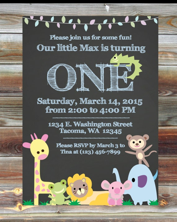 Jungle Theme First Birthday Invitation Custom Printable
