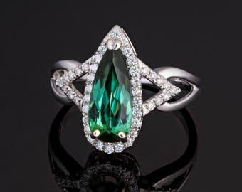 Genuine Indicolite (Tourmaline) with Diamonds 14k Solid White Gold Ring - Unique One-of-a-Kind!