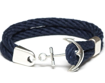 Nautical Rope Bracelet / Nautical Anchor Bracelet / Navy Blue Anchor Bracelet / Silver Anchor Bracelet / Nautical Jewelry / Nautical Gift