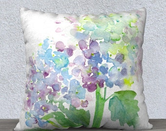 Hydrangea Watercolor Pillow Covers - Purple Hydrangea Floral Print Pillow, Watercolor Throw Pillow, 22 x 22 Cushion Cover with Flowers