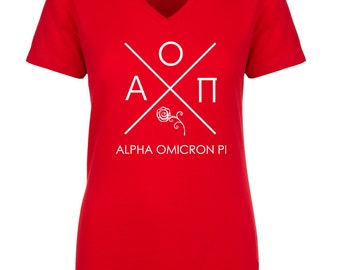Alpha Omicron Pi Infinity V-Neck Shirt - White Print (unless noted otherwise)