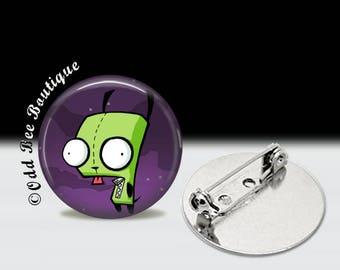 "Invader Zim GIR Dog Pin - Animation Cartoon Brooch - Jhonen Vasquez Button - Robot Comic Book Alien Accessory Gift - 1"" Silver and Glass"